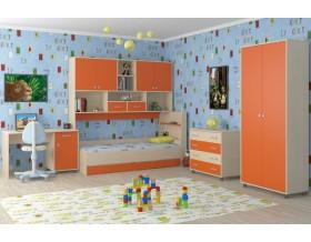 детская Дельта комплект №8 цвет дуб молочный / оранжевый