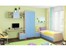 детская Дельта комплект №10 цвет дуб молочный / голубой