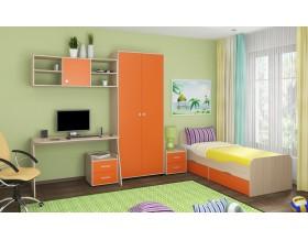 детская Дельта комплект №10 цвет дуб молочный / оранжевый