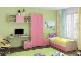 детская Дельта комплект №10 цвет дуб молочный / розовый