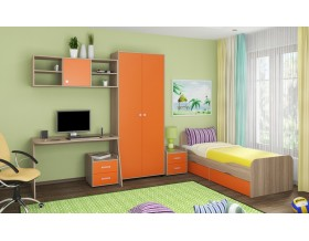 детская Дельта комплект №10 цвет дуб Сонома / оранжевый