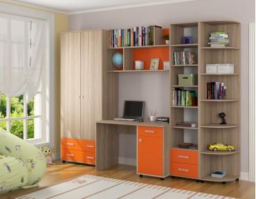 детская Дельта комплект №11 цвет дуб Сонома / оранжевый
