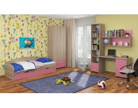детская Дельта комплект №12 цвет дуб Сонома / розовый