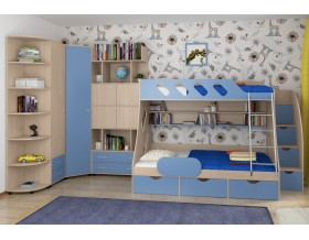 детская Дельта комплект №15 цвет дуб молочный / голубой