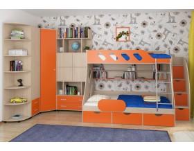 детская Дельта комплект №15 цвет дуб молочный / оранжевый