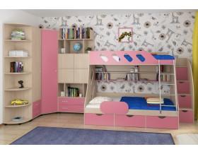 детская Дельта комплект №15 цвет дуб молочный / розовый