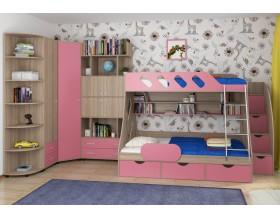 детская Дельта комплект №15 цвет дуб Сонома / розовый