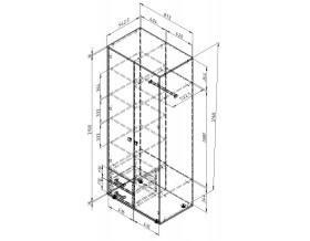 чертёж с размерами шкаф двух дверный с ящиками Дельта-3.02