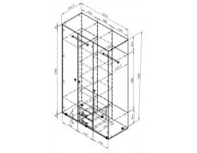 схема с размерами Дельта-3.03 шкаф трёх дверный