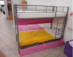 двухъярусная кровать Севилья-2 ПЯ цвет серый / розовый