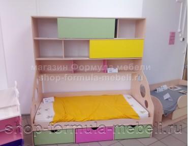 кровать с антресолью Дельта 21.12 цвет дуб молочный / мультицвет, Формула мебели