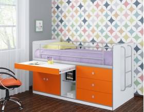 кровать Дюймовочка-6 корпус белый, фасад оранжевый