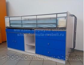 кровать Дюймовочка-6 корпус белый, фасад голубой