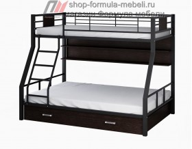 двухъярусная кровать Гранада-1 ПЯ цвет чёрный-венге на белом фоне