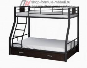 двухъярусная кровать Гранада-1 Я цвет чёрный - венге на белом фоне