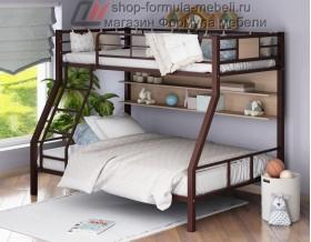 двухъярусная кровать Гранада-1 П (с полкой) цвет коричневый - дуб молочный