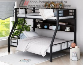 двухъярусная кровать Гранада-1 П (с полкой) цвет чёрный - венге
