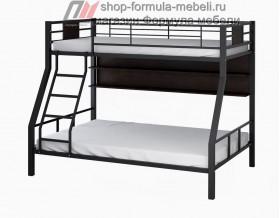 двухъярусная кровать Гранада-1 П (с полкой) цвет чёрный - венге на белом фоне