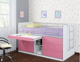 кровать Дюймовочка-6 корпус белый, фасад розовый