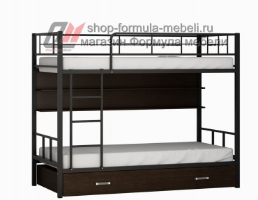 двухъярусная кровать Севилья-2 ПЯ цвет чёрный / венге на белом фоне