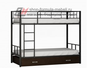 двухъярусная кровать Севилья-2 Я цвет чёрный / венге на белом фоне