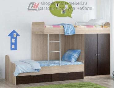 двухъярусная кровать Дельта 18.04.01 дуб Сонома / венге Формула мебели