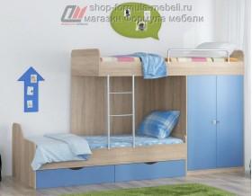двухъярусная кровать Дельта 18.04.01 дуб Сонома / голубой