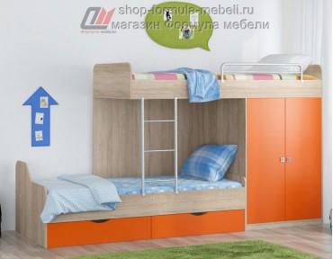 двухъярусная кровать Дельта 18.04.01 дуб Сонома / оранжевый