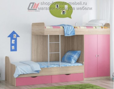 двухъярусная кровать Дельта 18.04.01 дуб Сонома / розовый