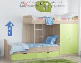 двухъярусная кровать Дельта 18.04.01 дуб Сонома / салатовый