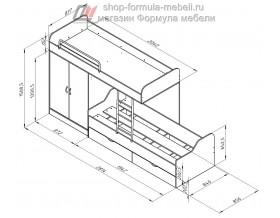 двухъярусная кровать Дельта 18.04.01 размеры