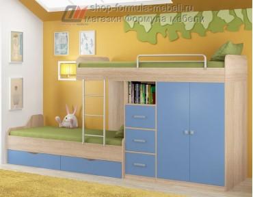двухъярусная кровать Дельта 18.04.02 дуб Сонома / голубой