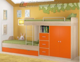 двухъярусная кровать Дельта 18.04.02 дуб Сонома / оранжевый Формула мебели