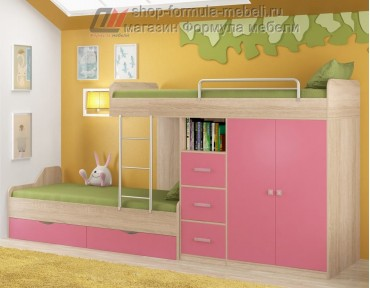 двухъярусная кровать Дельта 18.04.02 дуб Сонома / розовый