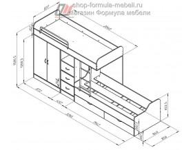 двухъярусная кровать Дельта 18.04.02 размеры