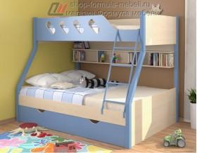 двухъярусная кровать Дельта 20.02 цвет голубой / дуб молочный Формула мебели
