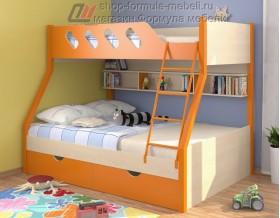 двухъярусная кровать Дельта 20.02 цвет оранжевый / дуб молочный