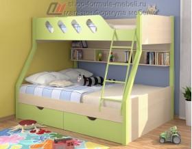 двухъярусная кровать Дельта 20.02 цвет салатовый / дуб молочный
