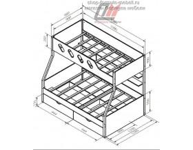 двухъярусная кровать Дельта 20.02 размеры